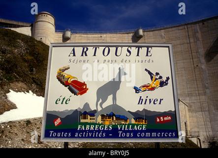 sign, roadside billboard, billboard, advertising, Artouste Fabreges Village, Artouste dam, Pyrenees National Park, - Stock Photo
