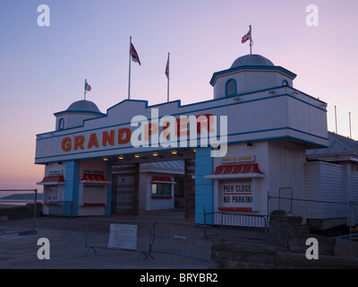 The entrance to the rebuilt Grand Pier at Weston-super-Mare undergoing final preparations for it's imminent reopening. - Stock Photo