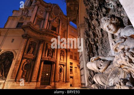 Rome. Italy. The church of San Carlo alle Quattro Fontane, & the fountain of Juno - Stock Photo