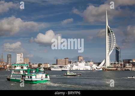 Portsmouth harbour with Spinnacker Tower and Portsmouth Gosport Ferry. - Stock Photo