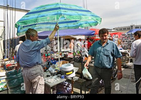 A market selling electronics and household goods, Brest, Belarus - Stock Photo