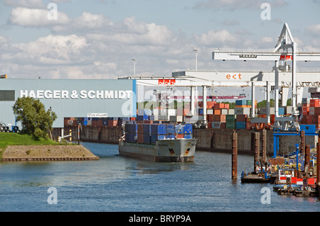 Container port, Duisburg, Germany. - Stock Photo