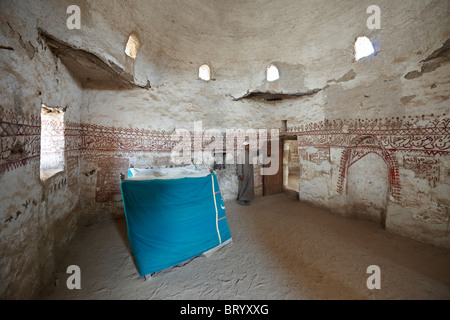 interior shot in Mosque of islamic old town Al-Kasr, Oasis Dakhla, western desert, Egypt, Arabia, Africa - Stock Photo