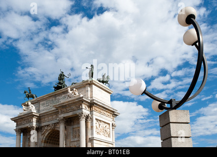 Neoclassical Arco della Pace, Milan, Italy. Detail - Stock Photo