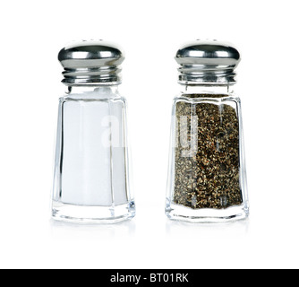 Glass salt and pepper shakers isolated on white background - Stock Photo