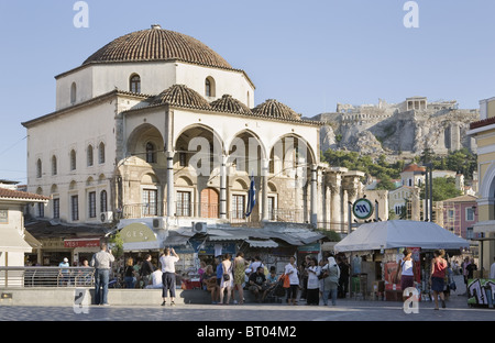 Athens, Greece. Monastiraki Square with view of Acropolis in distance - Stock Photo