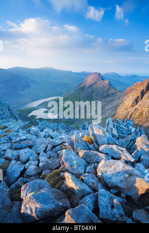 Mt Tryfan and the Ogwen Valley from Glyder Fach. Snowdonia National Park. Conwy. Wales. UK. - Stock Photo