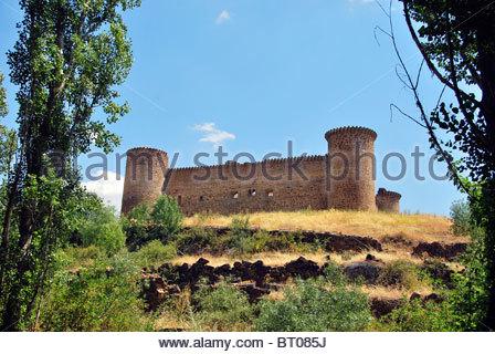 Old medieval castle in Barco de Avila. Avila. Spain - Stock Photo