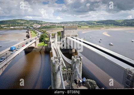 Conwy Suspension Bridge - Stock Photo