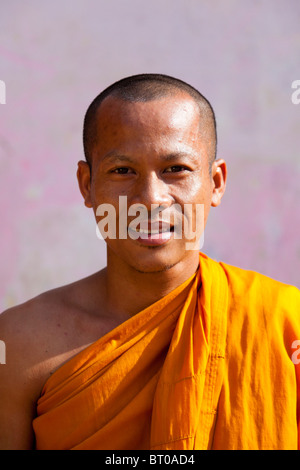Portrait of a Khmer Buddhist monk - Phnom Penh, Cambodia - Stock Photo