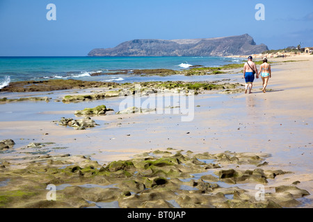 Beach shore at Porto Santo Beach - Madeira - Stock Photo