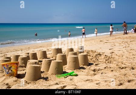 Porto Santo Beach Sand Castles - Stock Photo
