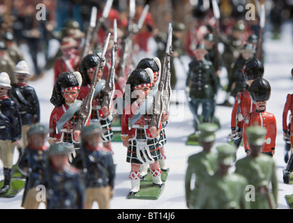 London, UK. Tin soldiers of the British Empire for sale at Portobello market. Actual height approx 3 inches - Stock Photo