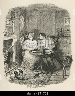 'Mr. Bumble and Mrs. Corney taking tea'. 19th century illustration from Charles Dicken's Oliver Twist. - Stock Photo
