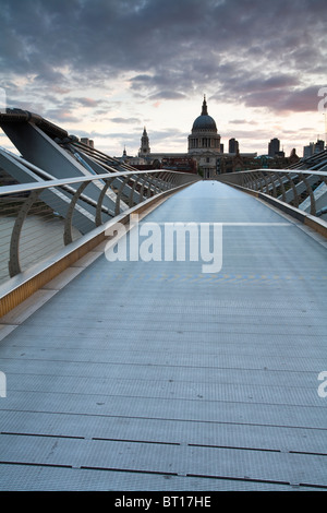 Millenium Bridge over the River Thames looking towards St Paul's Cathederal, London, Uk - Stock Photo