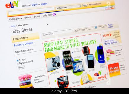 ebay website screenshot on internet - Stock Photo