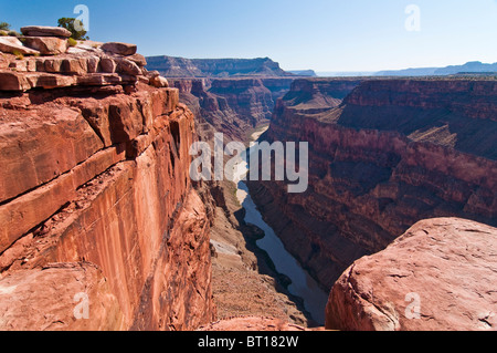 Grand Canyon and Colorado River seen from Toroweap Point, Tuweep Area, Grand Canyon North Rim, Arizona, USA - Stock Photo