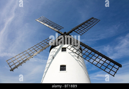 Historic windmill on the seafront adjacent to the River Ribble at Lytham in Lancashire, UK - Stock Photo