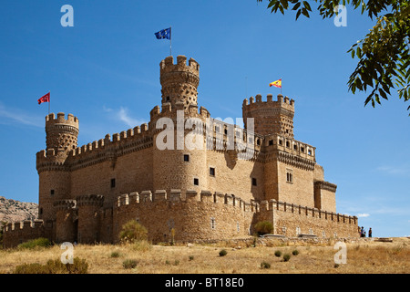 Castillo de los Mendoza en Manzanares El Real Madrid España Mendoza castle Manzanares El Real Madrid Spain - Stock Photo