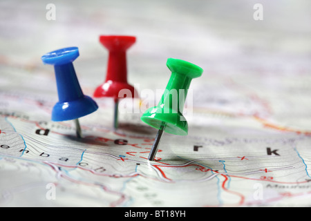 Travel destination marked with push pins - Stock Photo
