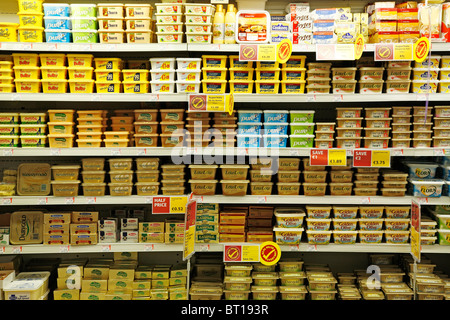 butter and margarine shelf in a supermarket - Stock Photo