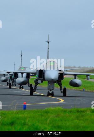 Saab JAS 39 Gripens single engined fast military Swedish jet fighter aircraft.  SCO 6852 - Stock Photo