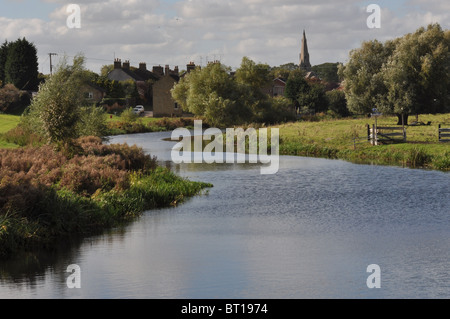 The River Nene at Stanground on the eastern end of Peterborough on the edge of the Cambridgeshire Fens, UK. - Stock Photo