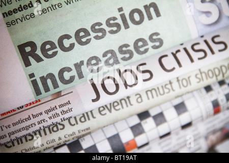 Newspaper headline ''Recession Increases'' - Stock Photo