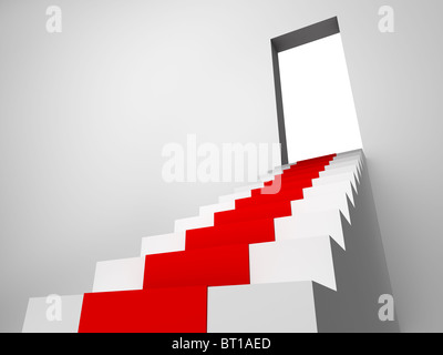 Monochromic 3d rendered image of stair with carpet runner to opened door. - Stock Photo