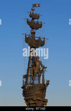 Statue of Peter The Great (1672-1725) by Zurab Tsereteli in Moscow, Russia - Stock Photo