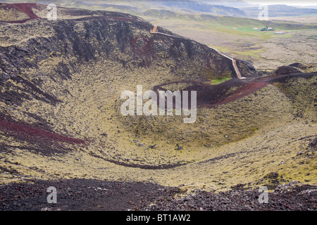 Grabrok volcanic crater caused by a fissure eruption in Western Iceland near Reykholt - Stock Photo