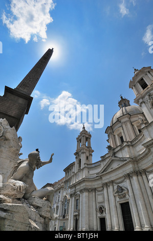 Rome. Italy. Sant' Agnese in Agone, Piazza Navona. - Stock Photo