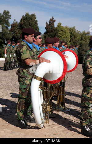 Portuguese army band, Battle of Bucaco 200th anniversary celebrations, Bussaco Forest, Coimbra, Portugal - Stock Photo