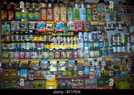 All sorts of items for sale as talisman, amulet, magic, ritual and traditional medicine in the Witches Market, La - Stock Photo