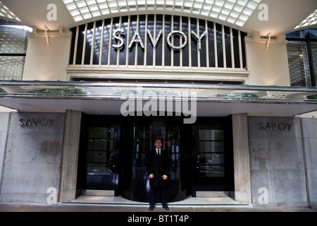 Savoy Hotel in London. Reopened in October 2010 after a complete refurbishment. Photos show the River entrance - Stock Photo
