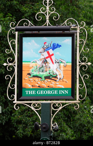 The George, English Pub Sign, Oxford, United Kingdom. - Stock Photo