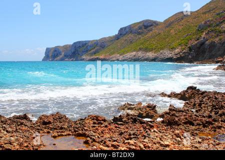 San Antonio cape blue sea view from Las Rotas Denia Alicante Spain - Stock Photo