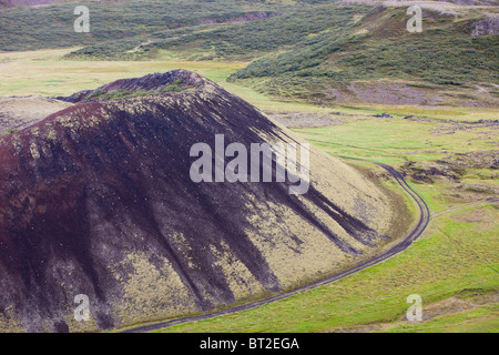 Grabrokarfell a crater caused by a fissure eruption near Reykholt in Iceland. - Stock Photo