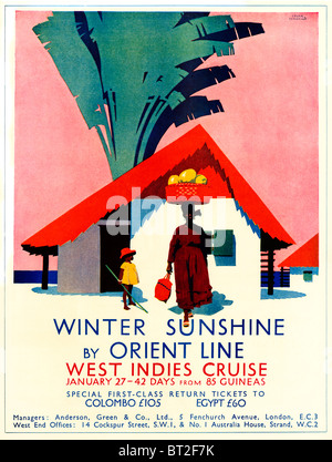 Orient Line, Winter Sunshine, 1931 advert for the Cruise Line part owned by P&O, here illustrating cruises to the - Stock Photo
