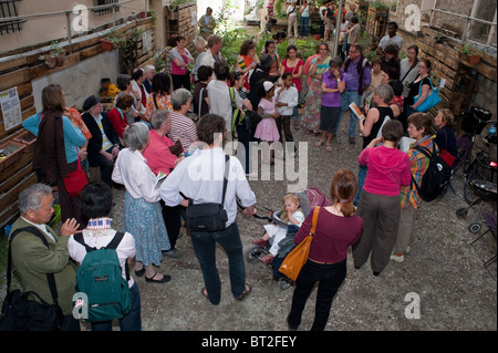 Paris, France, Crowd of French People, Visiting Community Garden , Low-income Public Housing Estate Building, Backyard - Stock Photo