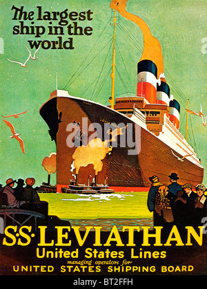 SS Leviathan, 1920s poster for the United States Lines flagship, the largest ship in the world, original the German - Stock Photo