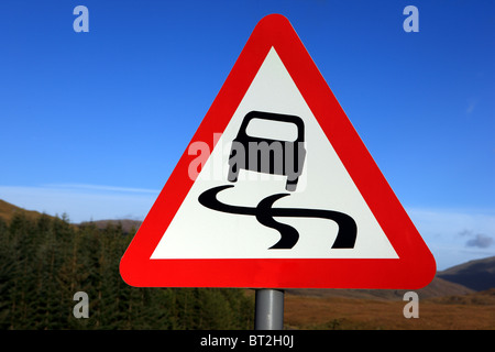 Slippery road sign in the UK - Stock Photo