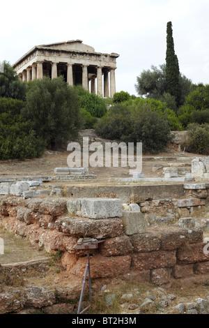 Ancient Agora Athens Temple Hephaestus - Stock Photo