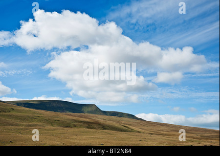 Fan Brycheiniog rises above autumn grassland, Black Mountain, Brecon Beacons national park, Wales - Stock Photo