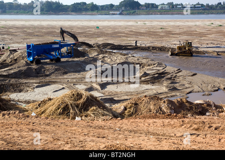 Construction Work Mekong River Waterfront Vientiane Laos - Stock Photo