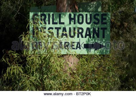 Greek hand written restaurant sign Greece - Stock Photo