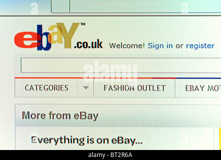 ebay screen shot welcome page - Stock Photo