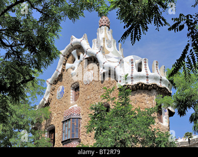 Guadi designed buildings at Park Guell, Barcelona Spain - Stock Photo