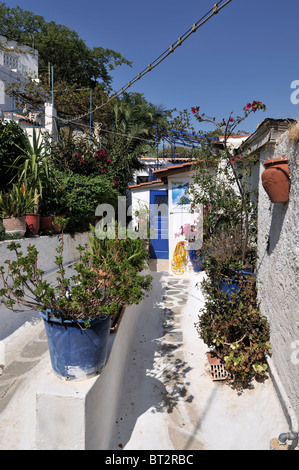 Traditional area of Anafiotika in Plaka, Athens, Greece - Stock Photo