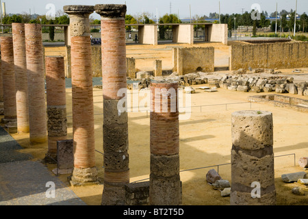 Roman remains at vetus urbs site stadium / amphitheatre at the ruined city of Italica / Itálica. Santiponce, nr Seville, Spain. Stock Photo